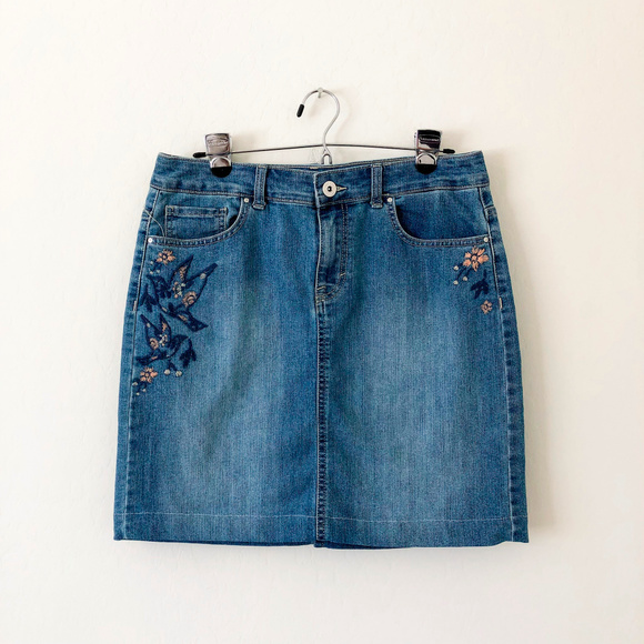 Style & Co Dresses & Skirts - Style & Co Denim Skirt with Embroidery